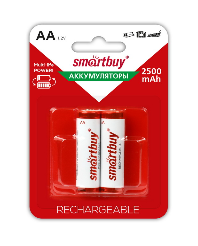 Аккумулятор NiMh Smartbuy AA/2BL 2500 mAh (24/240) (SBBR-2A02BL2500) - фото