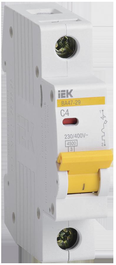 Автоматический выключатель 1Р 4А 4.5кА х-ка C ВА 47-29-10 1п С IEK (12) - фото